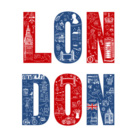 London Illustation Card - hand drawn in vector Vector