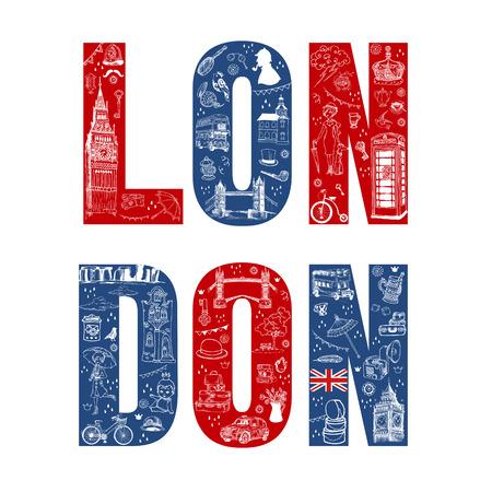 Londra Illustation Card - disegnata a mano in formato vettoriale Archivio Fotografico - 28460314