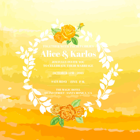 ombre: Wedding Vintage Invitation Card - Watercolor Ombre Theme with Roses- in vector