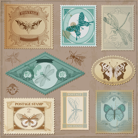 Vector Set: Vintage Post Stamps with Calligraphic Hand drawn Butterflies - for design and scrapbook Illustration