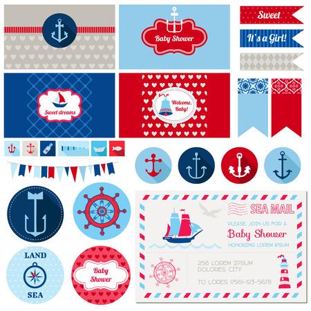 Записки элементы дизайна - Baby Shower Морская тема - в вектор