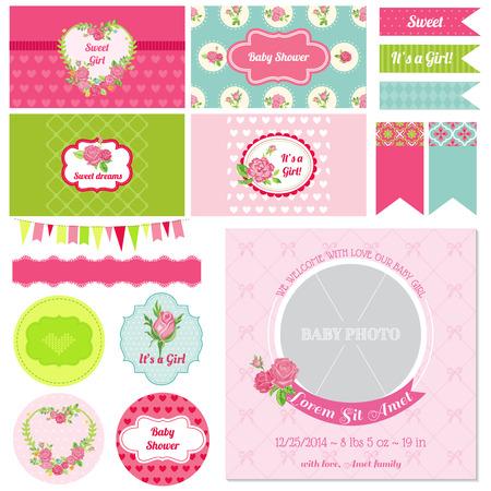newborn: Scrapbook Design Elements - Baby Shower Flower Theme