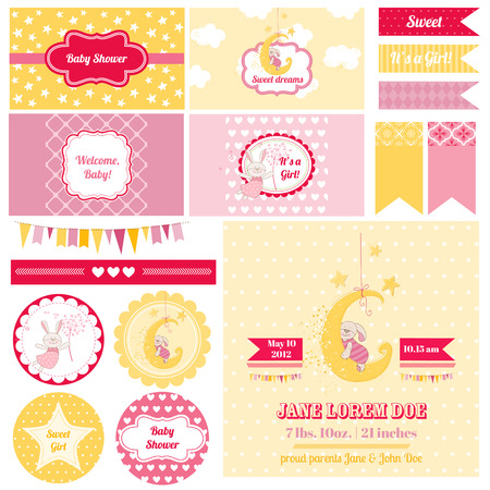 baby sleeping: Scrapbook Design Elements - Baby Shower Bunny Theme - in vector Illustration