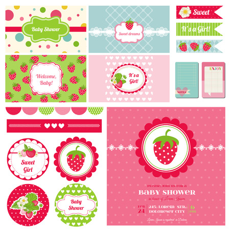 Scrapbook Design Elements - Strawberry Baby Shower Theme  Vector