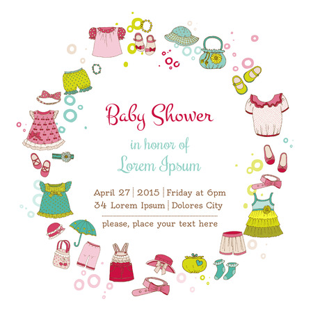 cute baby girls: Baby Girl Shower or Arrival Card with Place for your text  Illustration