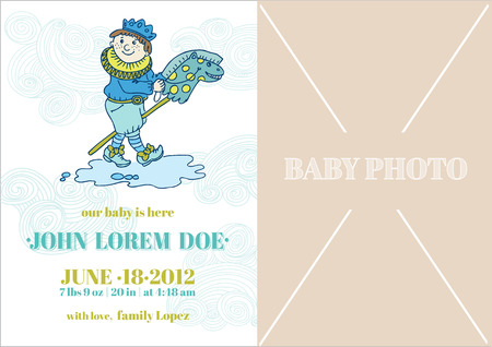 Baby Boy Arrival Card - with place for your text and photo  Vector