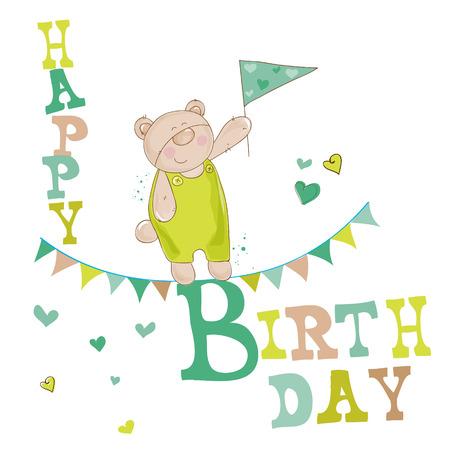 happy birthday girl: Baby Bear Birthday Card - for invitation, congratulation  Illustration