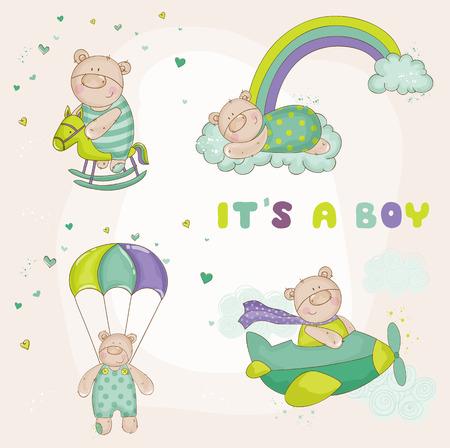 クマの赤ちゃん - ベビー シャワーまたは到着カードの設定  イラスト・ベクター素材