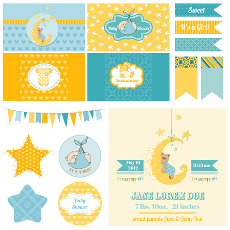 Baby Shower Sleeping Bear Theme  - for Party, Scrapbook or Design Elements  Illustration