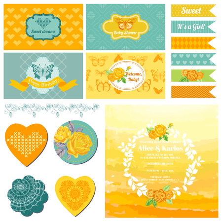 ombre: Baby Shower or Party Set - Vintage Butterfly Theme