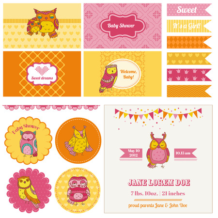 Baby Shower Owl Party Set - for design and scrapbook  Vector