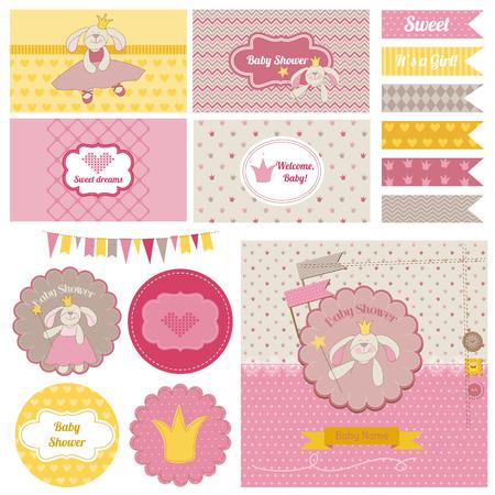 Baby Shower Party Conejito Set - para el diseño y libro de recuerdos Foto de archivo - 28876086