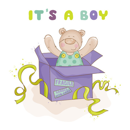 newborn animal: Baby Bear in a Box - Baby Shower or Arrival Card - in vector Illustration
