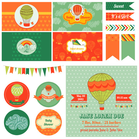 Baby Shower Airballoon Theme  - for Party, Birthday, Scrapbook or Design Elements - in vector Vector