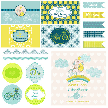 baby shower party: Baby Shower Bunny and Bike Party Set - for Design, Birthday and Scrapbook - in vector