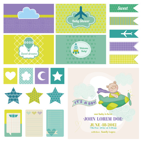 baby shower party: Baby Bear on a Plane - for Birthday, Baby Shower, Party Decoration - in vector Illustration
