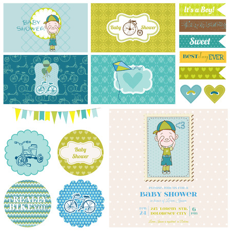 baby boy shower: Baby Shower Bicycle Party Set - for Party Decoration, Scrapbook, Birthday - in vector Illustration