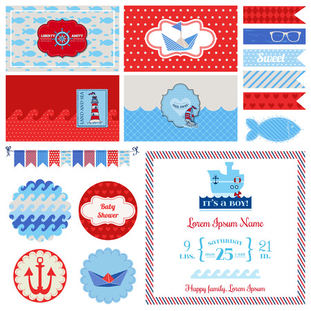 marine bird: Baby Shower Nautical Set - for Party Decoration, Scrapbook, Baby Shower - in vector