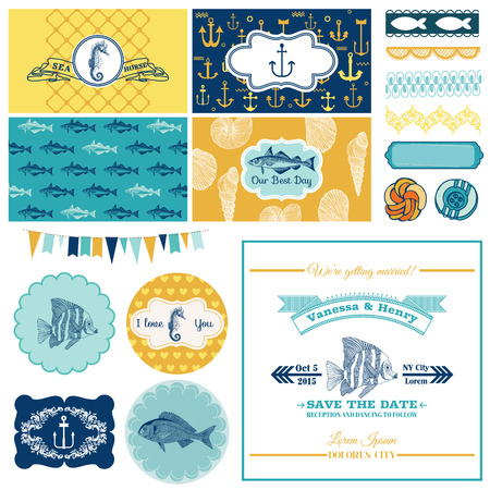 Nautical Sea Theme Set - for Party Decoration, Scrapbook, Wedding Design - in vector Vector