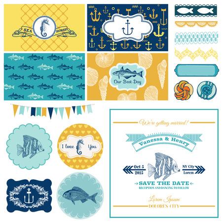 Mer nautique Theme Set - pour la décoration de partie, Scrapbook, conception de mariage - dans le vecteur