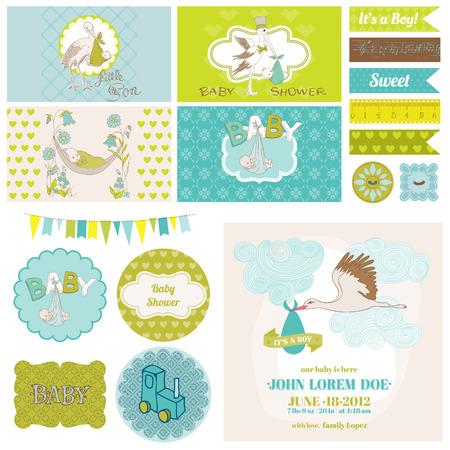 cicogna: Baby Shower Cicogna Theme Set - per la decorazione del partito, Scrapbook, Baby Shower - in vettoriale