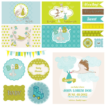 nacimiento bebe: Baby Shower Cigüeña Set Theme - para la decoración, Scrapbook, Baby Shower - en el vector Vectores