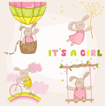 Baby Bunny Set - Baby Shower or Arrival Card - in vector Vector