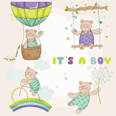 baby bear: Baby Bear Set - Baby Shower or Arrival Card - in vector