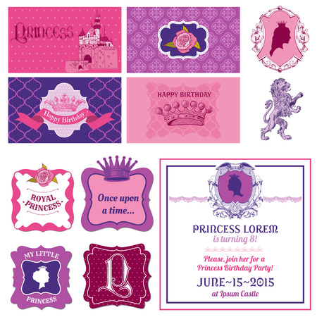 Princess Girl Birthday Set - for Scrapbook, Party Decoration, Birthday - in vector Vector
