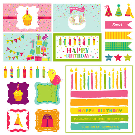 happy birthday girl: Birthday Party Invitation Set - for Birthday, Baby Shower, Party Decoration - in vector