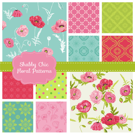 Floral Seamless Patterns - Poppy Theme Vector