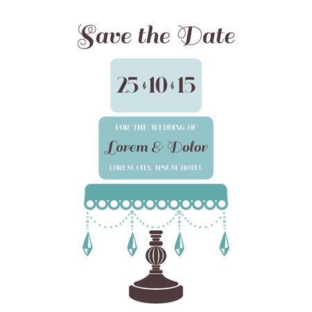 caligraphic: Wedding Cake Invitation - Save the Date