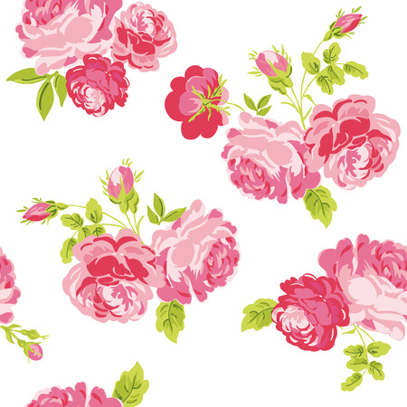 shabby chic background: Seamless Floral Shabby Chic Background Illustration