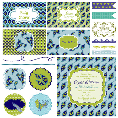 Vintage Peacock Party Set Vector