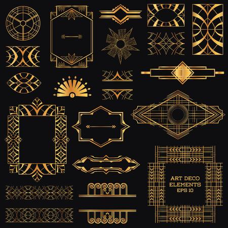 Ар-деко Винтаж кадры и элементы дизайна