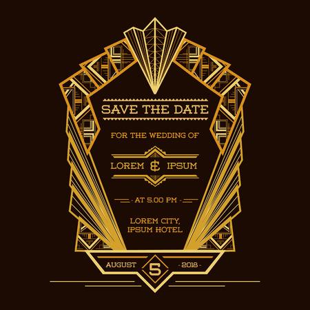 결혼식 초대 카드 - - 아트 데코 빈티지 스타일 - 날짜를 저장 벡터에 일러스트