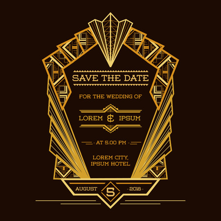 date: Save the Date - Wedding Invitation Card - Art Deco Vintage Style - in vector