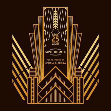 arte moderno: Ahorre la fecha - tarjeta de la invitaci�n de la boda - Art Deco Estilo Vintage - en vector