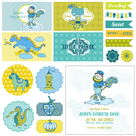 Baby Shower Little Prince Boy Set - for Party Decoration, Scrapbook, Birthday - in vector Vector