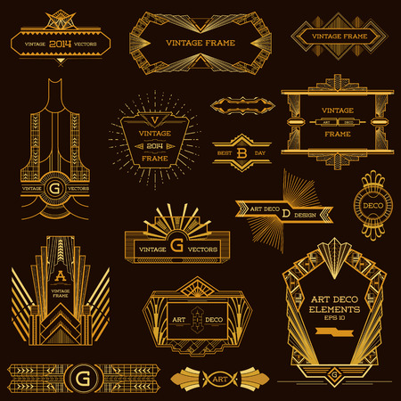 red circle: Art Deco Vintage Frames and Design Elements - in vector Illustration