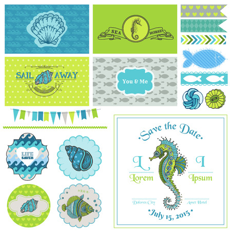 seahorse: Vintage Seahorse Party Set - for Party Decoration, Scrapbook, Wedding - in vector