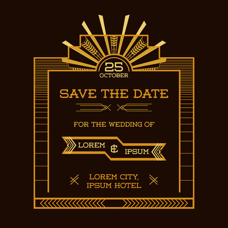 art deco border: Save the Date - Wedding Invitation Card - Art Deco Vintage Style - in vector