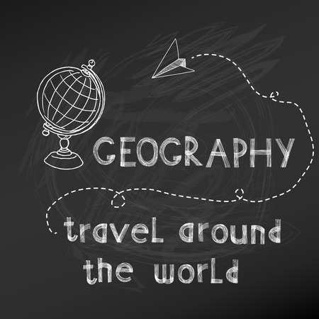 plane vector: Back to School - Geography Sign on chalk board - hand drawn- in vector