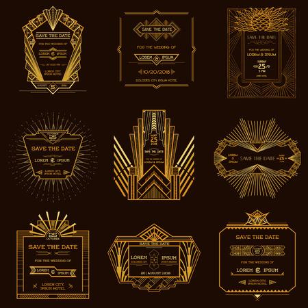 Mentsd meg a dátum - készlet esküvői meghívó kártyák - Art Deco vintage stílusú Illusztráció