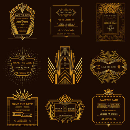 Sparen de Datum - Set van Wedding Kaarten van de Uitnodiging - Art Deco Vintage Style Stock Illustratie