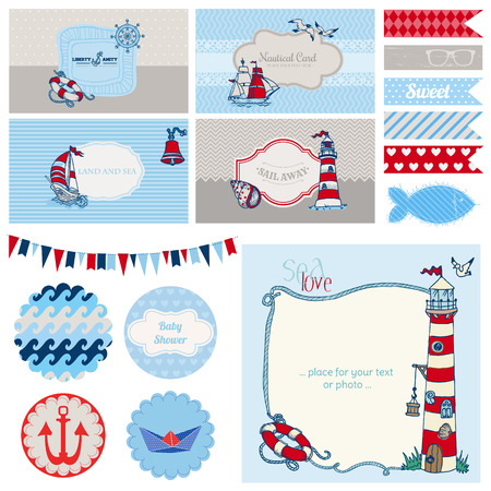 Baby Shower Nautical Set - for Party Decoration, Scrapbook, Baby Shower Vetores