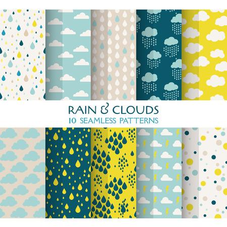 10 Seamless Patterns - Yağmur ve Bulutlar - duvar kağıdı, arka plan, doku, not defteri için Doku Çizim