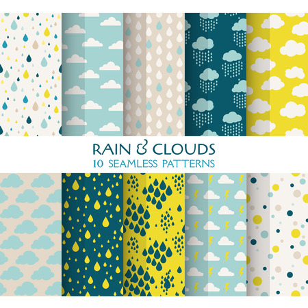 scrapbook: 10 Seamless Patterns - Rain and Clouds - Texture for wallpaper, background, texture, scrapbook