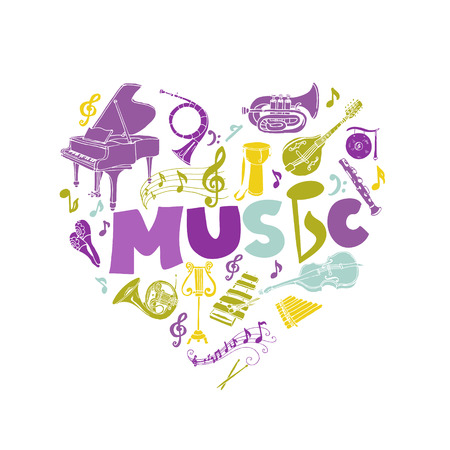 drum set: Colorful Card with Music Instruments - hand drawn in vector Illustration