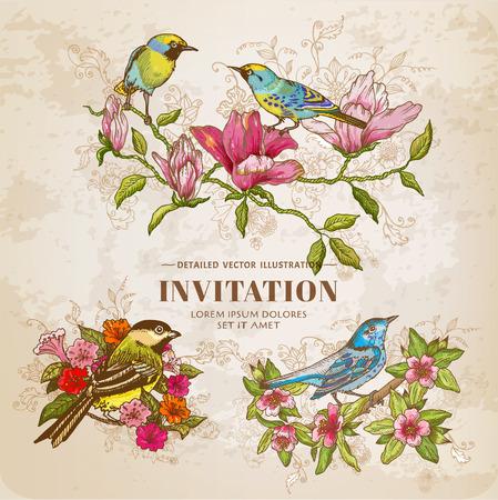 Állítsa a Vintage virágok és madarak - kézzel rajzolt illusztráció